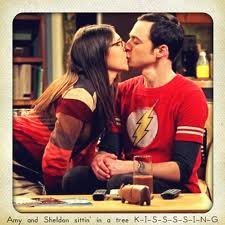 amy and sheldon kissing