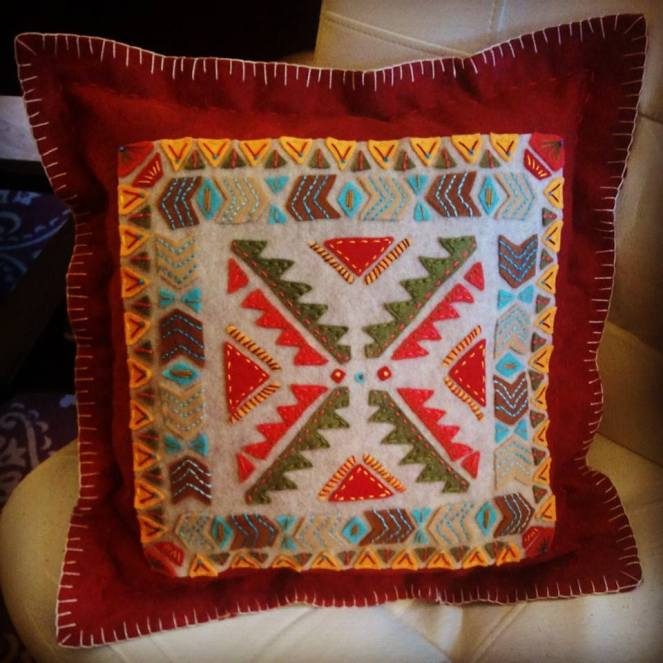 Aztec Inspired Embroidered Felt Pillow