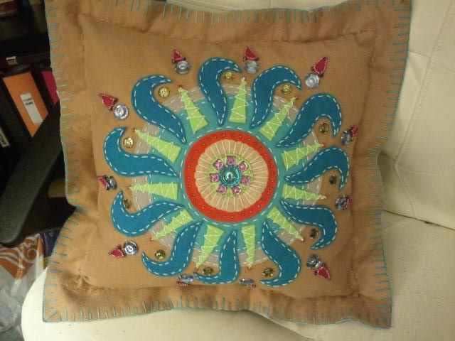Jeweled Abstract Embroidered Felt Pillow