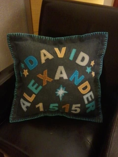 Block Name Embroidered Felt Baby Pillow
