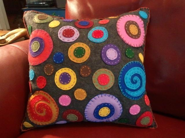 Fun and Contemporary Circle Pillow