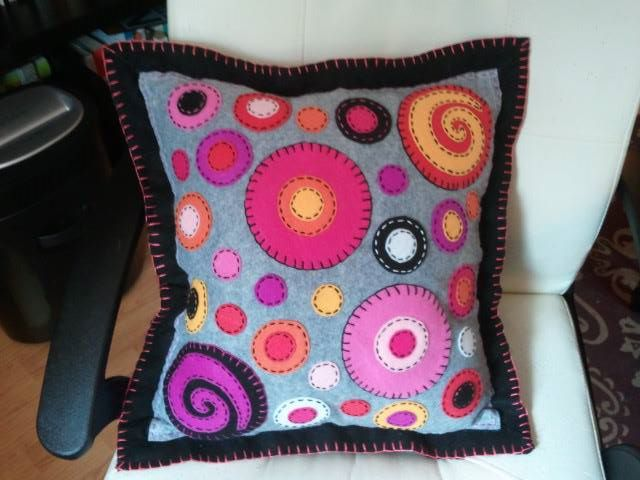 Gray, Black and Pink Embroidered Felt Pillow