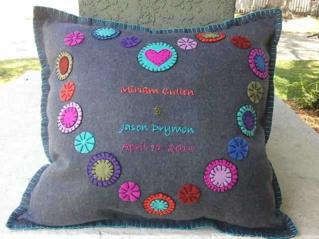 Heart Wedding Pillow - Embroidered Felt