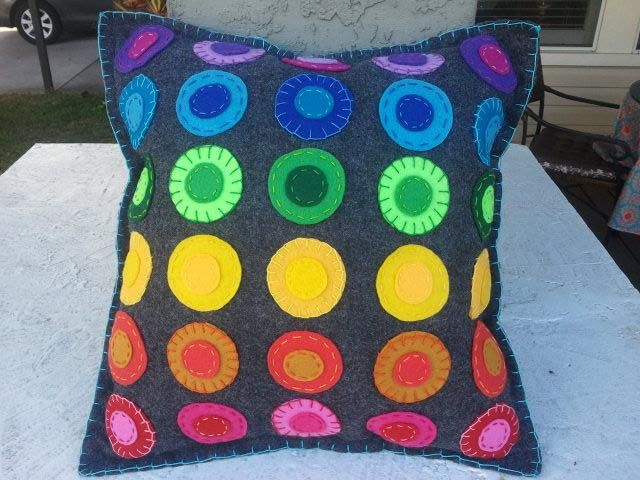LGBT Rainbow Embroidered Felt Pillow