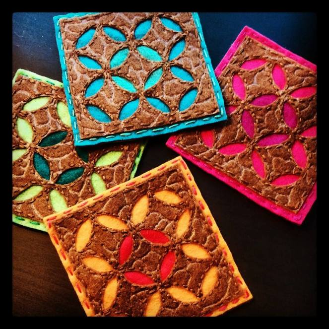 Moroccan Inspired Embroidered Felt Coasters