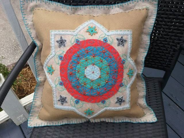 Moroccan Themed Circle of Life Embroidered Felt Pillow