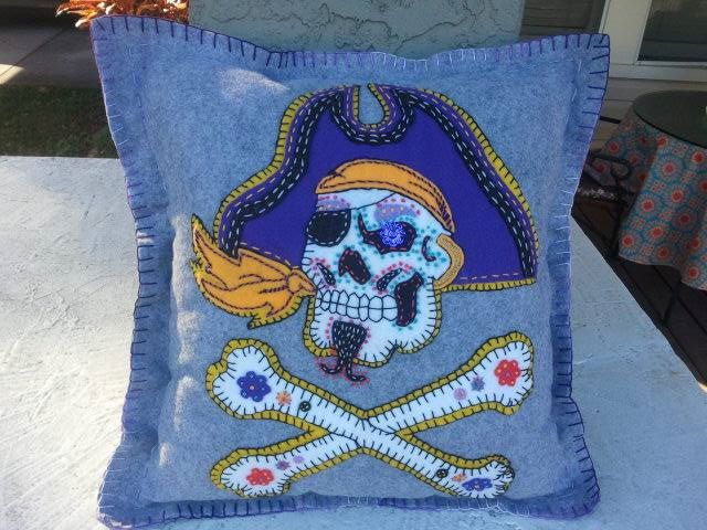 Aye! Pirate Sugar Skull Pillow