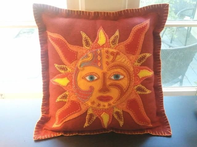 BRilliant Red Sun Embroidered Felt Pillow