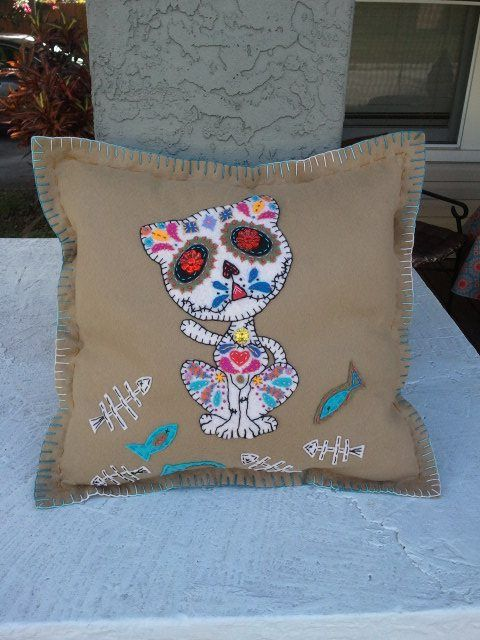 Sugar Skull Kitty Tan Embroidered Felt Pillow