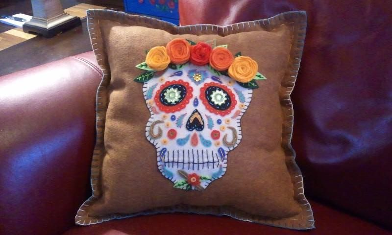 Desert Sugar Skull Pillow