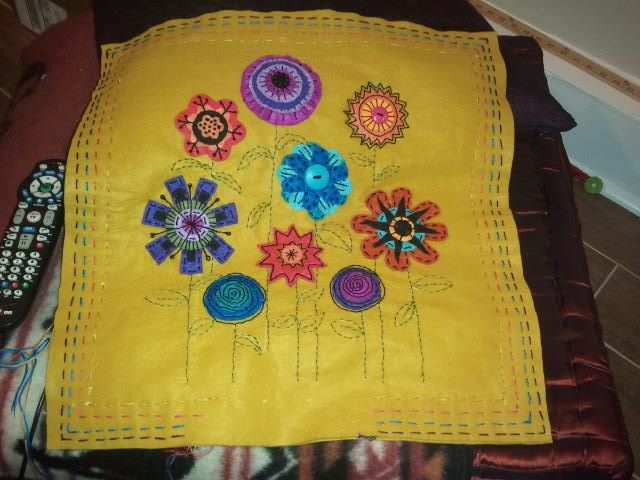 Vintage Floral Embroidered Felt Pillow - Unfinished